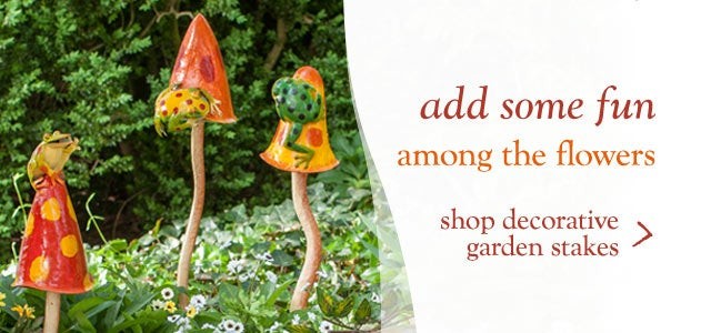 Add fun to your flowers - shop decorative garden stakes
