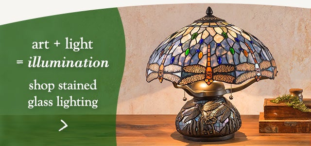 Art + light = illumination. Shop stained glass lamps and lighting