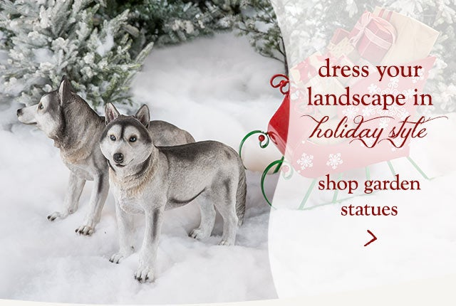 Dress your landscape in holiday style. Shop garden statues