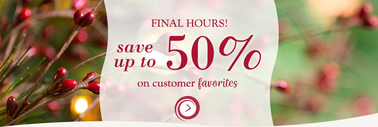 Final Hours! Save up to 50% on customer favorites. Shop Now
