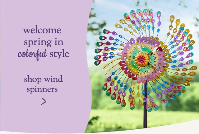 Welcome Spring in colorful style. Shop wind spinners