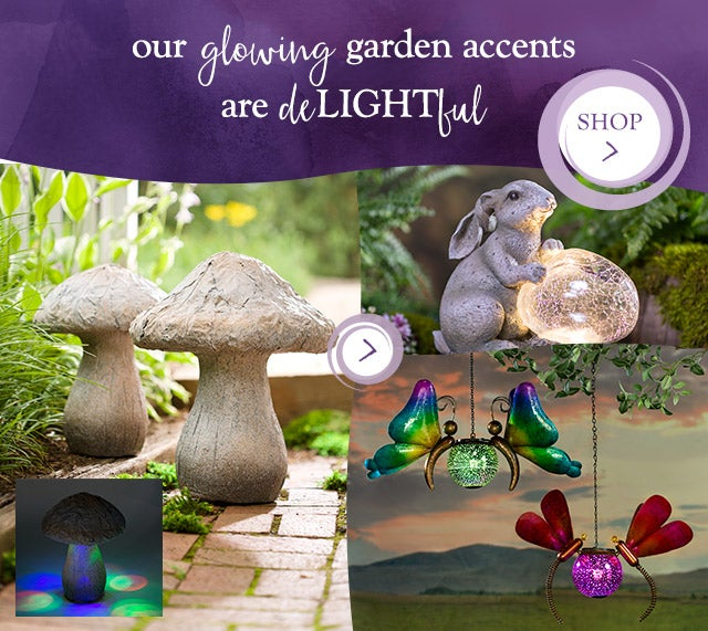 our glowing garden accents are deLIGHTful  so many ways to add light to the landscape